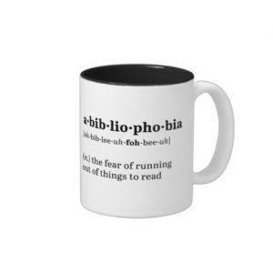 Abibliophobia Definition and Pronunciation Mug (black design)