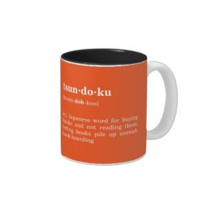 Tsundoku Definition and Pronunciation Mug (white design)