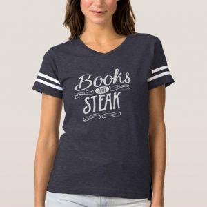 Books and Steak Shirt (women's white design)