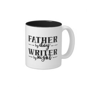 Father by Day, Writer by Night Mug (white design)