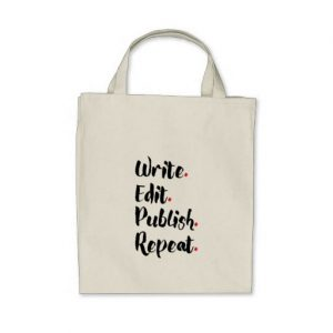 Write. Edit. Publish. Repeat. Grocery Tote Bag (black design)
