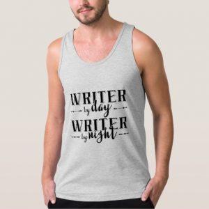 Writer by Day, Writer by Night Shirt (men's black design)