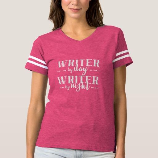 Writer by Day, Writer by Night Shirt (women's white design)