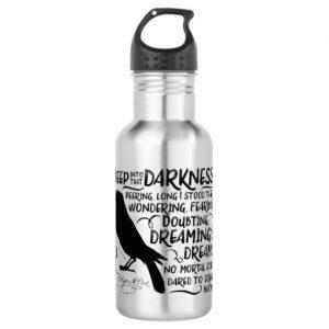 Raven (Deep Into That Darkness) by Edgar Allan Poe Water Bottle (black design)