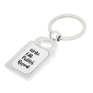 Write. Edit. Publish. Repeat. Silver-Colored Metal Keychain (black design)