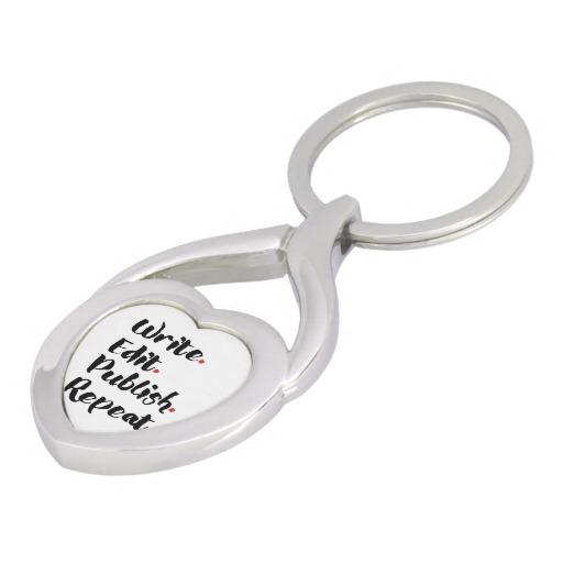 Write. Edit. Publish. Repeat. Silver-Colored Metal Keychain (black design)