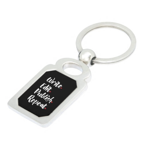 Write. Edit. Publish. Repeat. Silver-Colored Metal Keychain (white design)