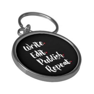 Write. Edit. Publish. Repeat. Silver-Colored Round Keychain (white design)