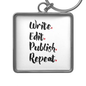 Write. Edit. Publish. Repeat. Silver-Colored Square Keychain (black design)