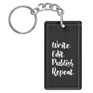 Write. Edit. Publish. Repeat. Single-Sided Rectangular Acrylic Keychain (white design)