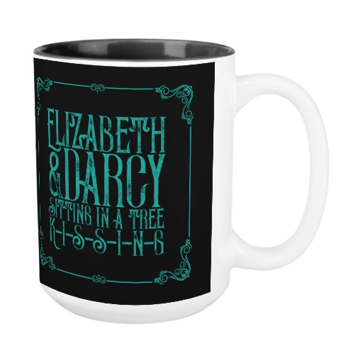 Elizabeth & Darcy Sitting in a Tree KISSING - Jane Austen Mug (teal design)