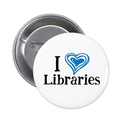 I [Heart] Libraries Button (blue/black)