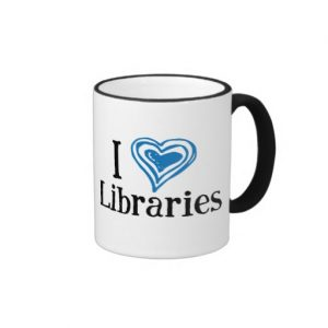 I [Heart] Libraries Mug (blue/black)