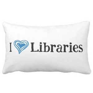 I [Heart] Libraries Pillow (blue/black)