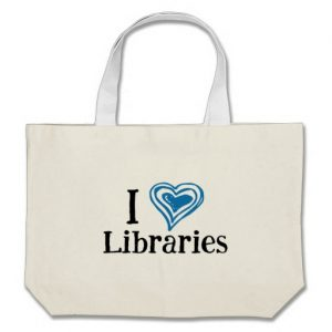 I [Heart] Libraries Tote Bag (blue/black)