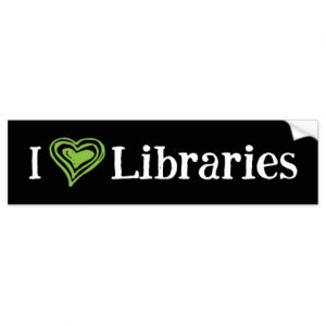 I [Heart] Libraries Bumper Sticker (green/white)