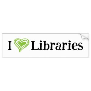 I [Heart] Libraries Bumper Sticker (green/black)