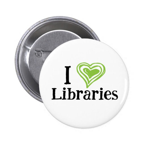 I [Heart] Libraries Button (green/black)