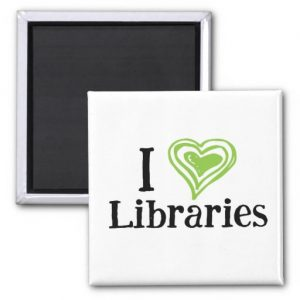 I [Heart] Libraries Magnet (green/black)