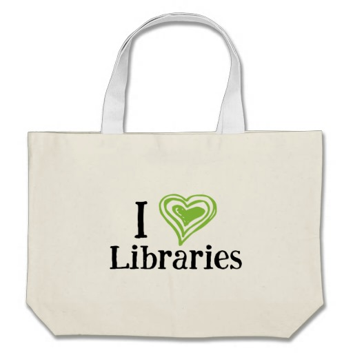 I [Heart] Libraries Tote Bag (green/black)