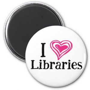 I [Heart] Libraries Magnet (pink/white)
