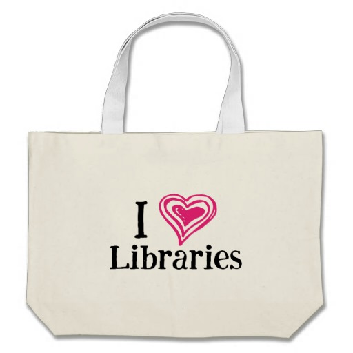 I [Heart] Libraries Tote Bag (pink/black)