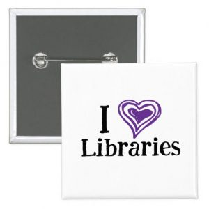 I [Heart] Libraries Button (purple/white)