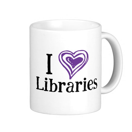 I [Heart] Libraries Mug (purple/black)