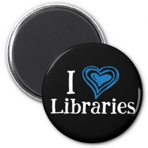 I [Heart] Libraries Magnet (blue/white)