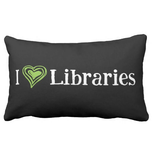 I [Heart] Libraries Pillow (green/white)