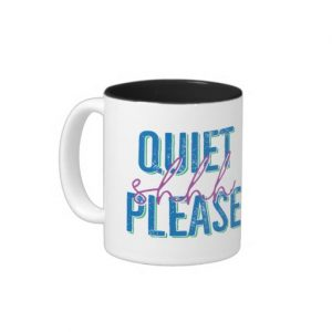 Shhh Quiet Please Mug (blue/purple)