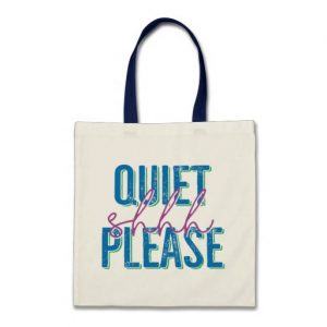 Shhh Quiet Please Tote Bag (blue/purple)
