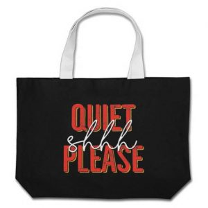 Shhh Quiet Please Tote Bag (orange/white)