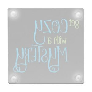 Get Cozy with a Mystery Glass Coaster (colored design on dark)