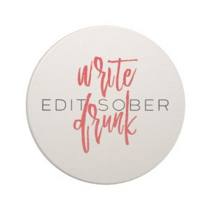 Write Drunk Edit Sober Sandstone Coaster (red and black)