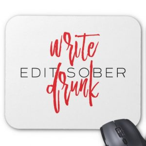 Write Drunk Edit Sober Mouse Pad (red and black)