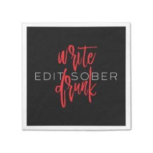 Write Drunk Edit Sober Napkin (red and white)