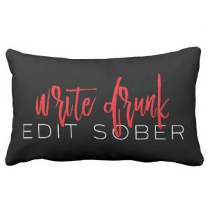 Write Drunk Edit Sober Lumbar Pillow (red and white)
