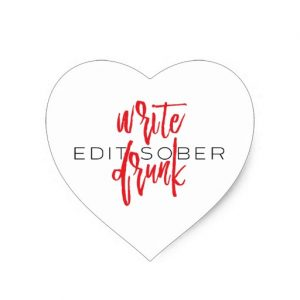 Write Drunk Edit Sober Sticker (red and black)
