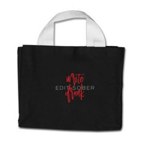 Write Drunk Edit Sober Tote (red and white)