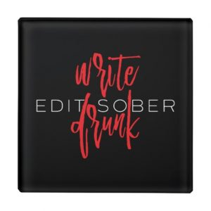 Write Drunk Edit Sober Glass Coaster (red and white)