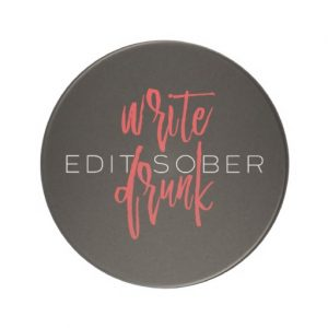 Write Drunk Edit Sober Sandstone Coaster (red and white)