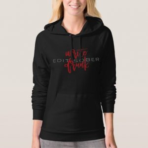 Write Drunk Edit Sober Woman's Long Sleeve (red and white)