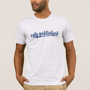Self-published Man's Shirt (blue writing)