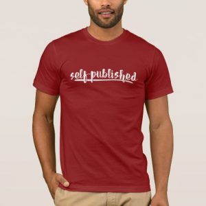 Self-published Man's Shirt (white writing)