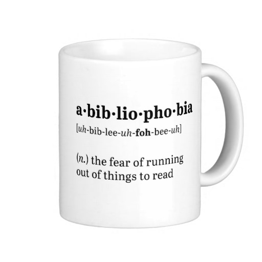 Abibliophobia Definition and Pronunciation Mug (black design)