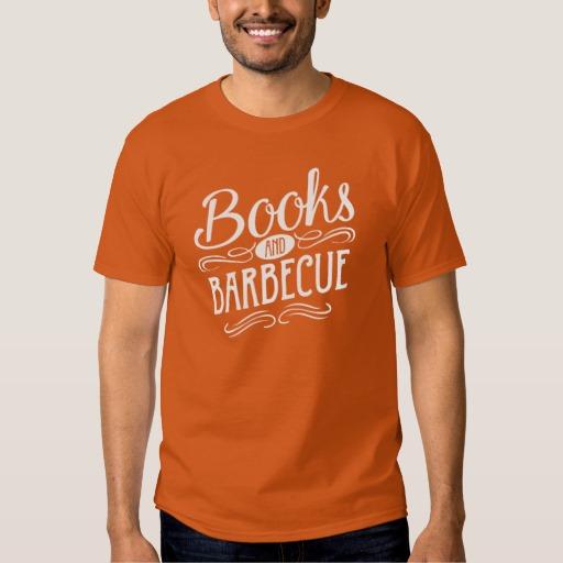 Books and Barbecue Shirt (men's white design)