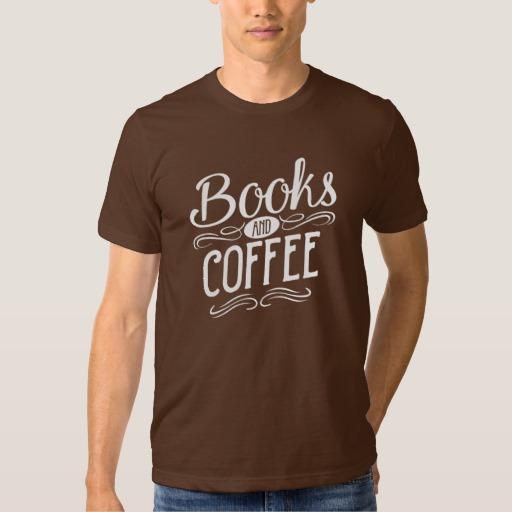 Books and Coffee Shirt (men's white design)