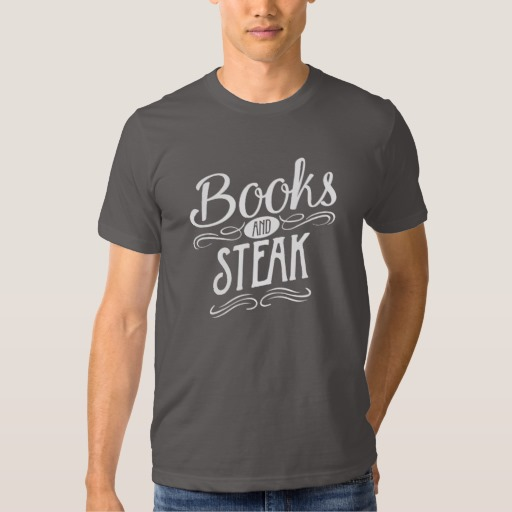 Books and Steak Shirt (men's white design)