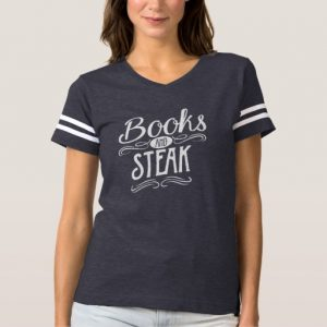 Books and Steak Shirt (women's white design)